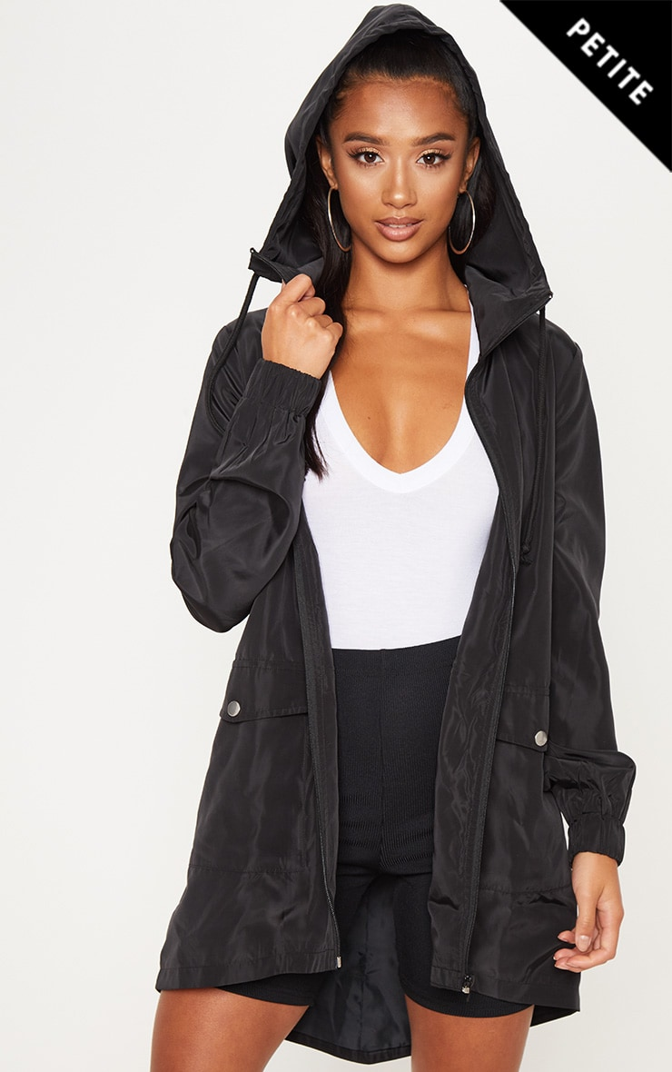 Petite Black Hooded Rain Coat