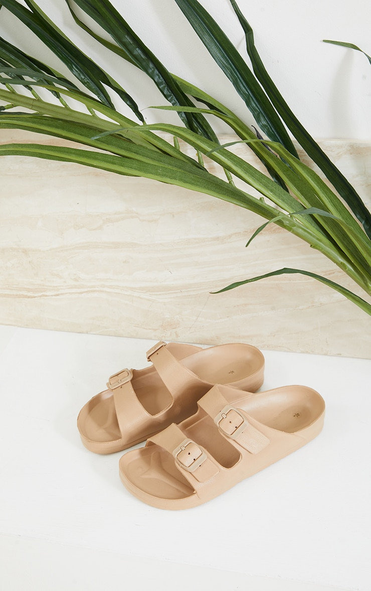 Nude Rubber Double Buckle Sandals 3