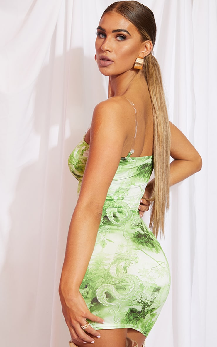 Lime Print Slinky Clear Strap Bodycon Dress 2
