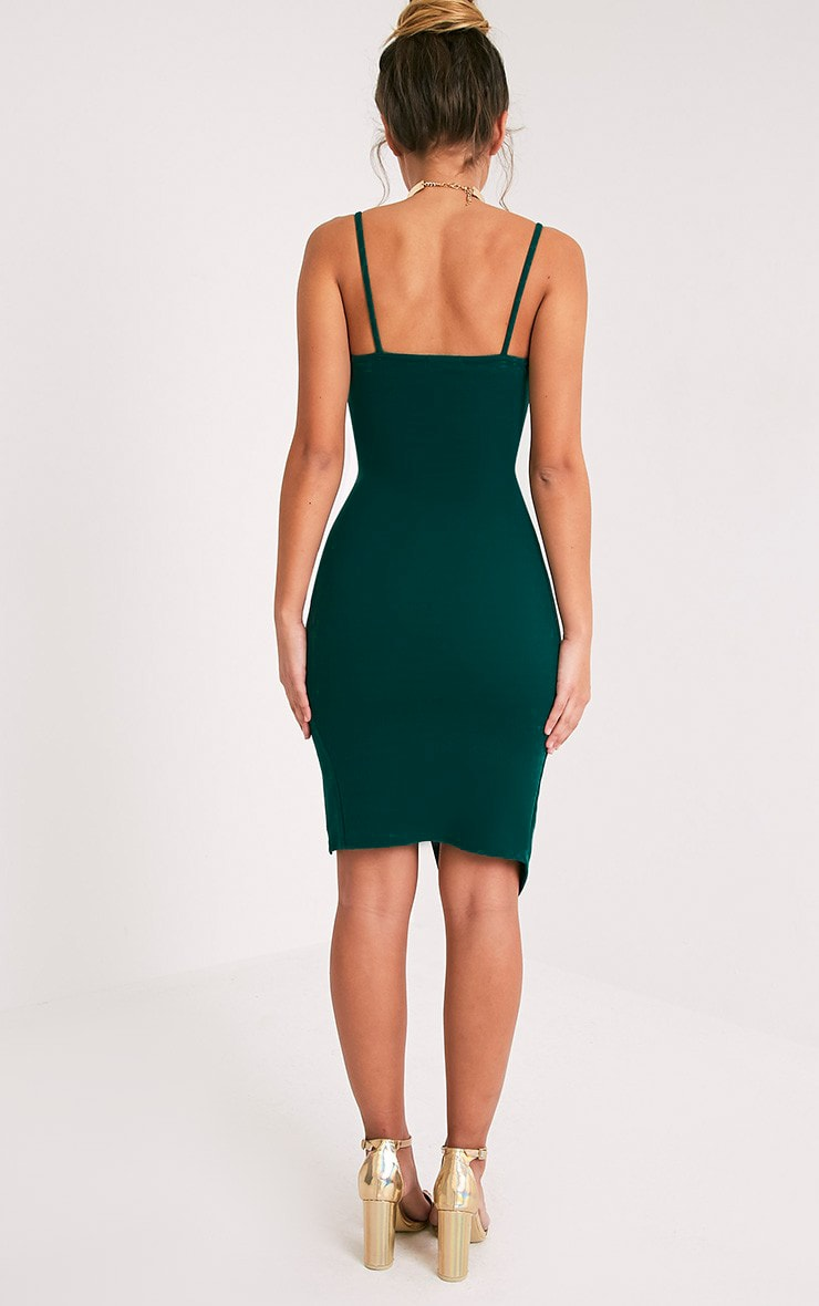 Lauriell Emerald Green Wrap Front Midi Dress 3