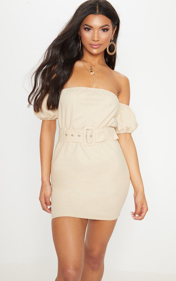 Stone Belt Detail Bardot Bodycon Dress 1
