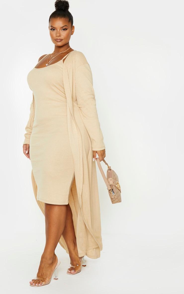 Plus Stone Rib Strappy Midi Dress 4
