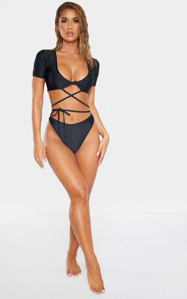 Black Wrap Around Knot Front Bikini Top 4