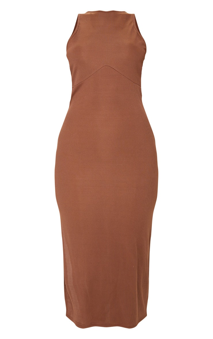 RECYCLED Chocolate Rib Racer Neck Underbust Detail Split Midi Dress 5