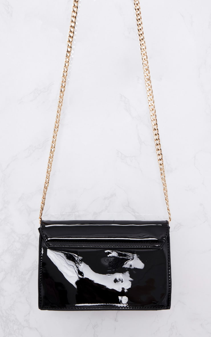 Black Patent Clasp Chain Body Bag 4