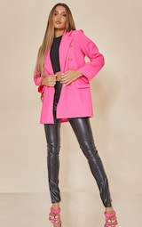 Hot Pink Shoulder Padded Double Breasted Blazer 3