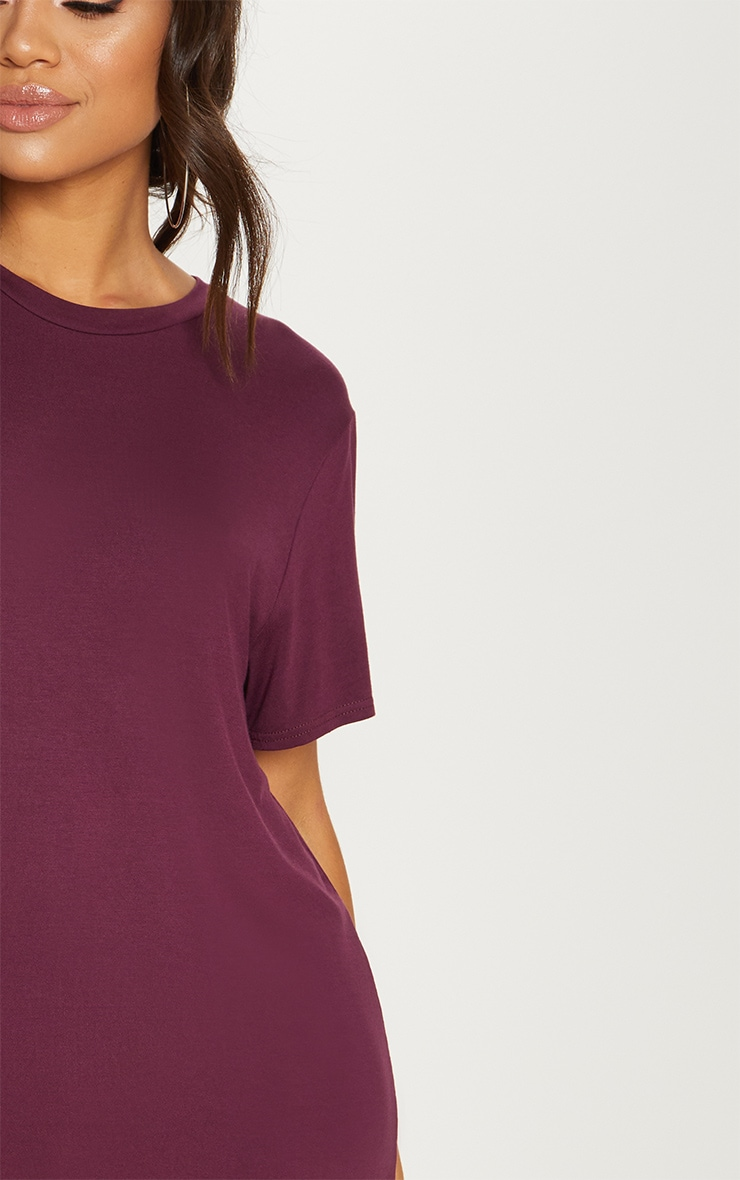 Basic Deep Burgundy Short Sleeve T Shirt Dress 5