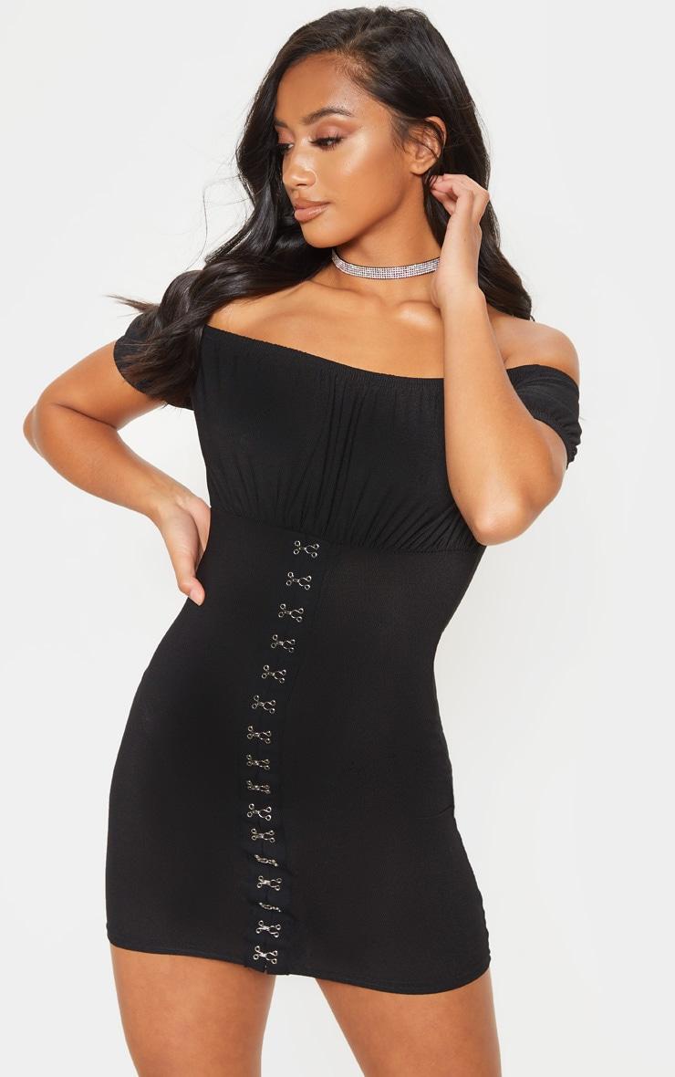 Petite - Mini robe noire à buste froncé oeillets et crochets 1