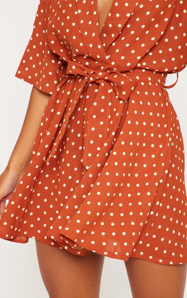 Terracotta Polka Dot Tea Dress 4