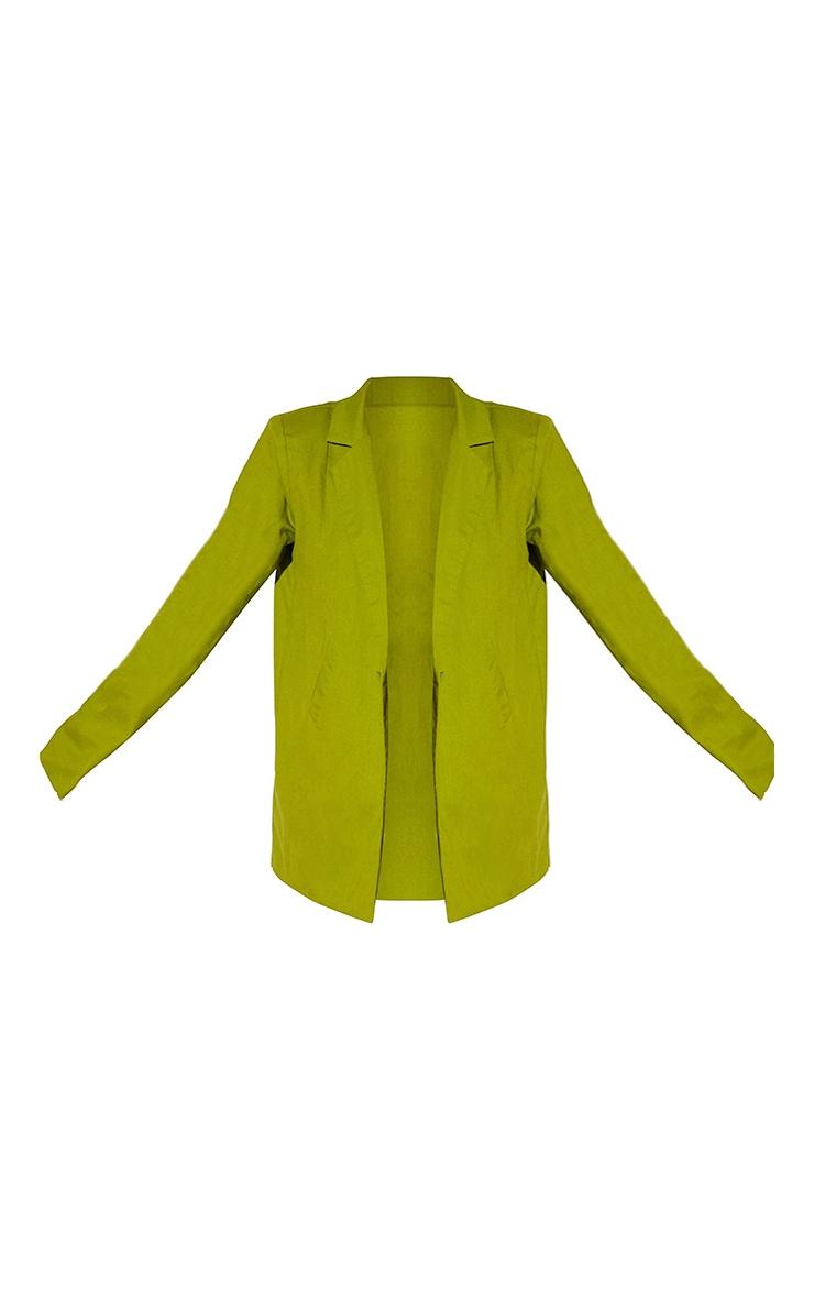 Olive Linen Look Oversized Blazer 5