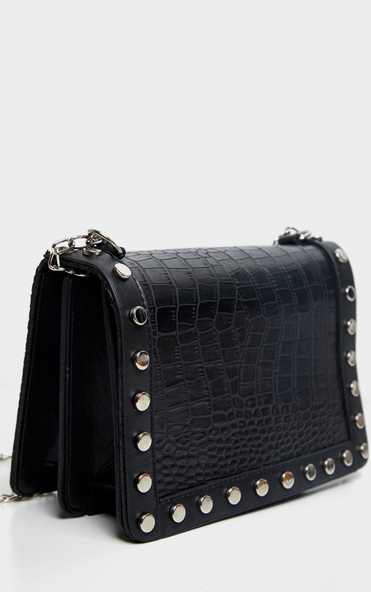 Black Studded Croc Cross Body Bag 4