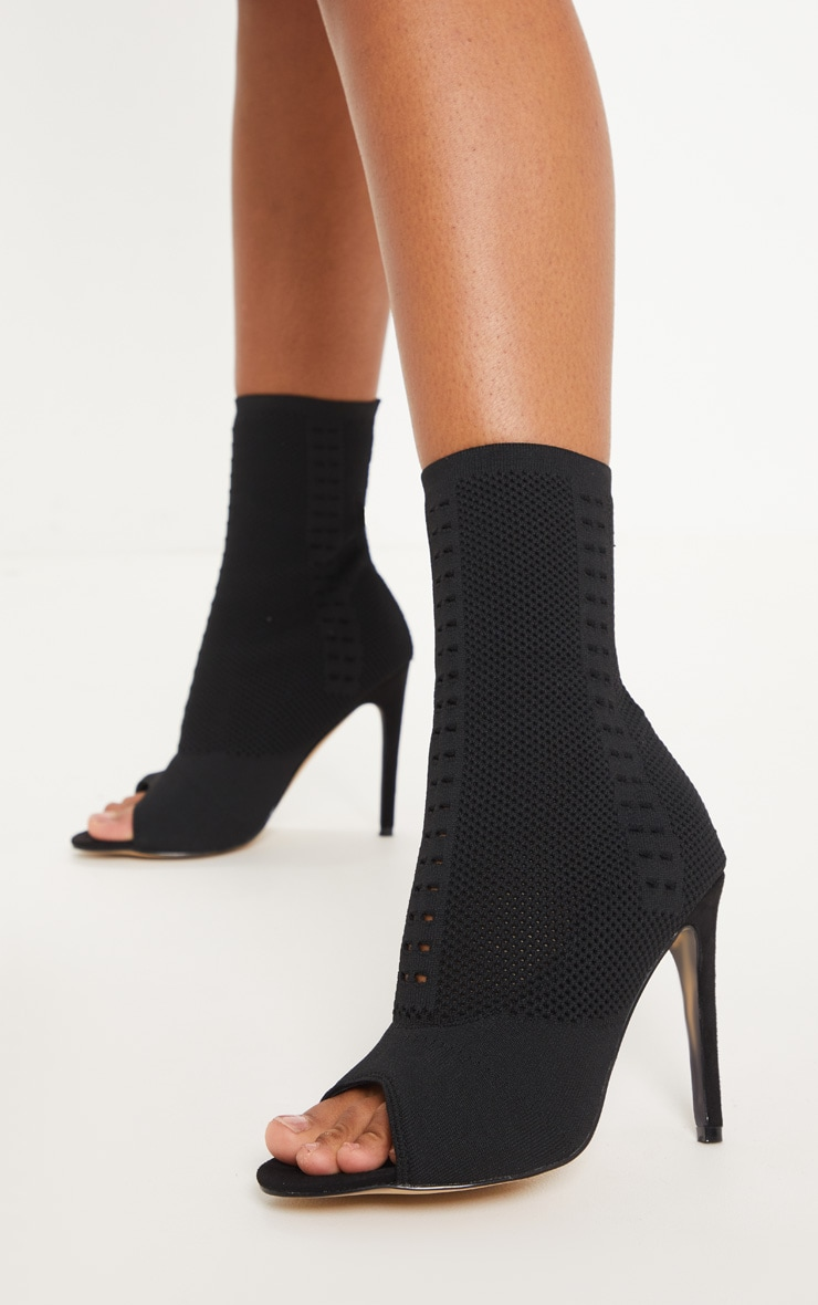 Donna Black Knitted Peep Toe Sock Boots 1