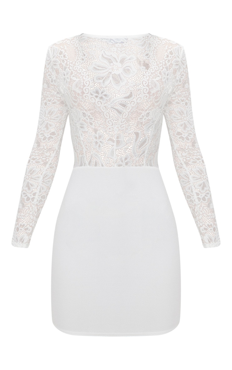 White Lace Top Long Sleeve Bodycon Dress 3