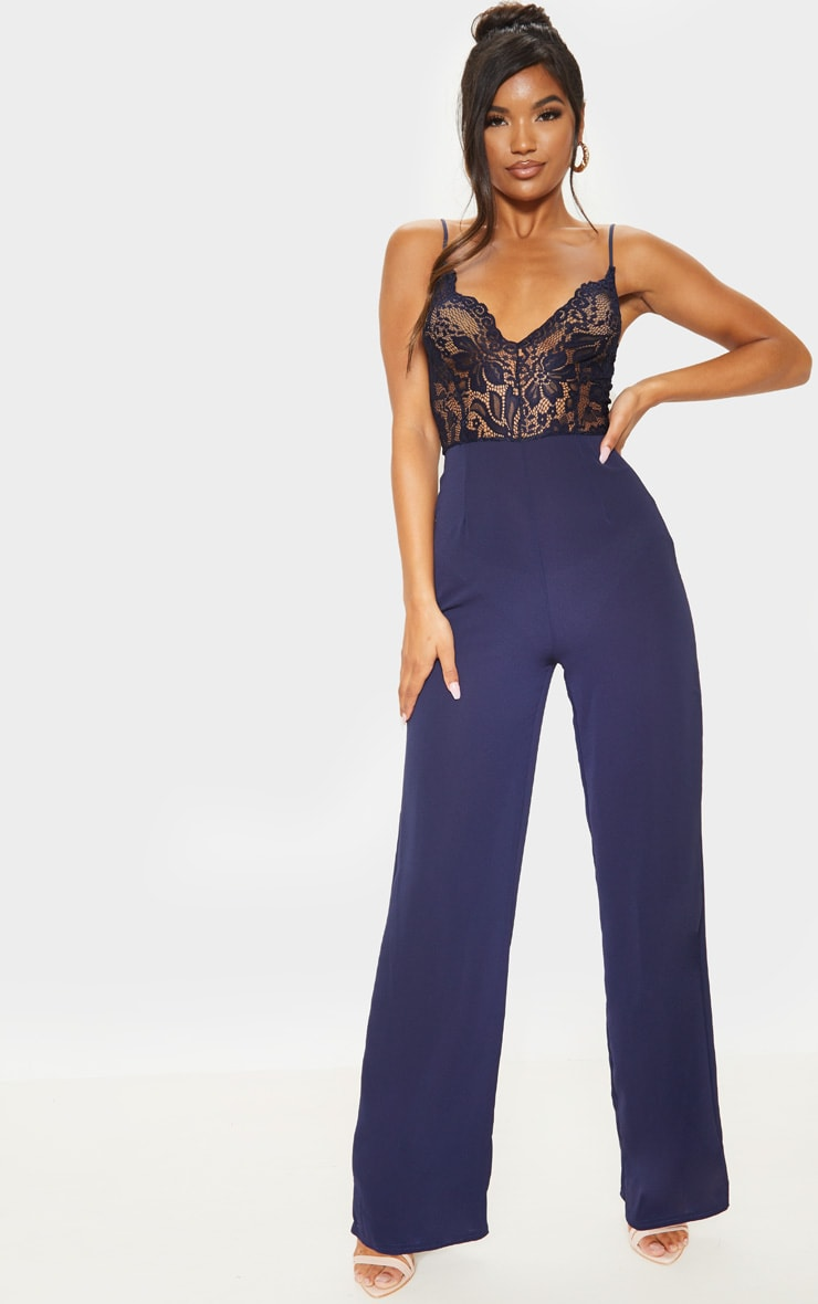 Navy Lace Wide Leg Jumpsuit 1