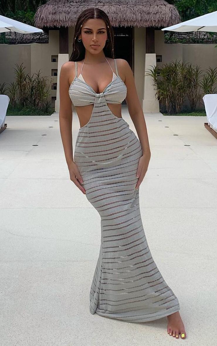 Stone Cut Out Sheer Glitter Knit Maxi Beach Dress 1