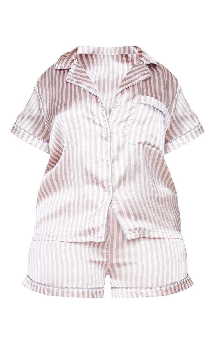 PLT Plus - Ensemble de pyjama satiné avec short à rayures grises et roses  5