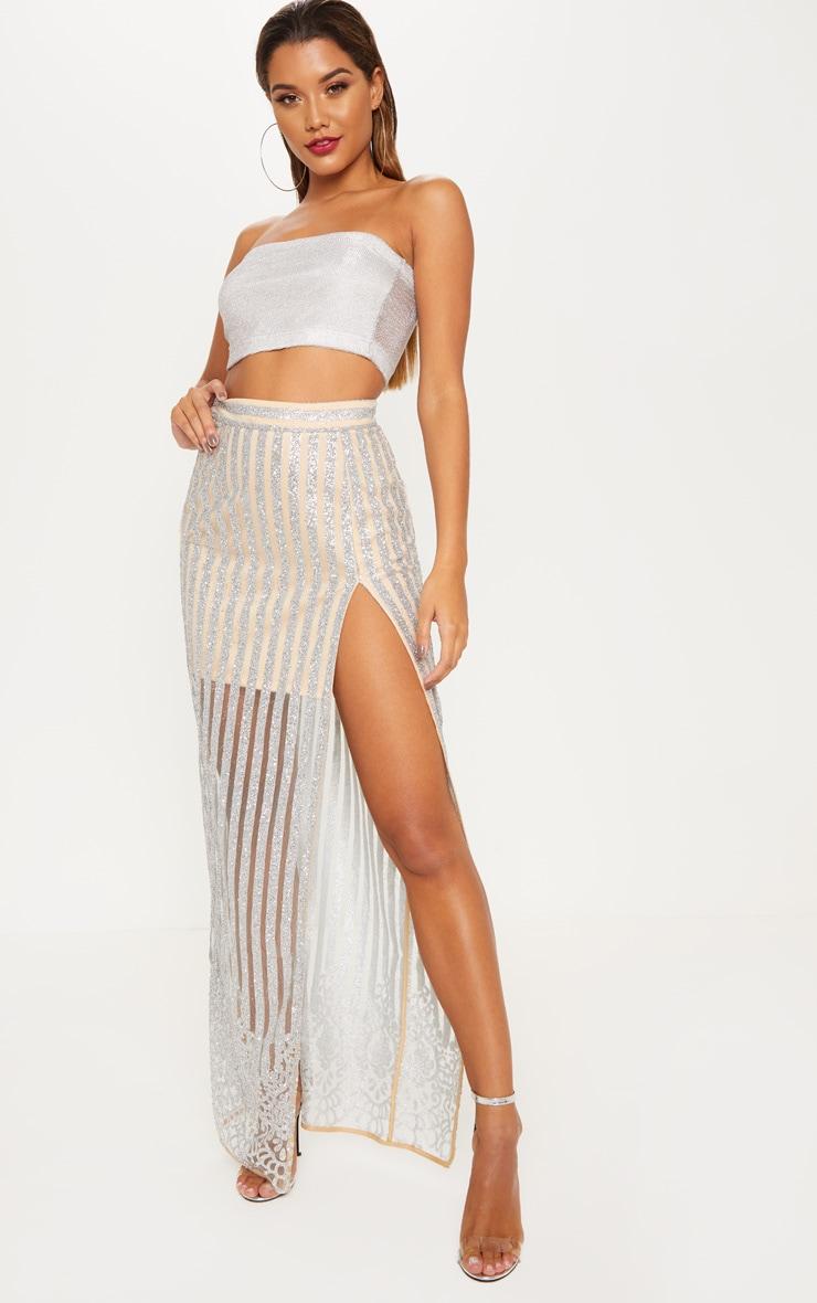 Silver Sheer Glitter Stripe Maxi Skirt  1