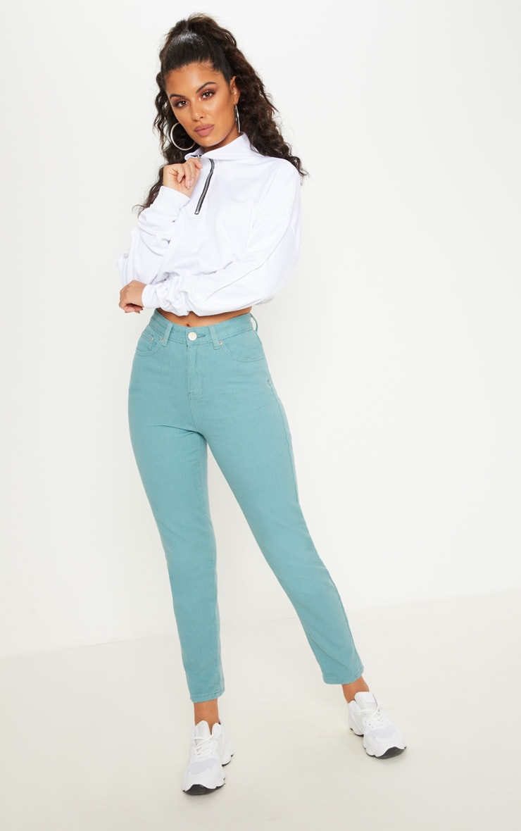 Green 5 Pocket Skinny Jean  1