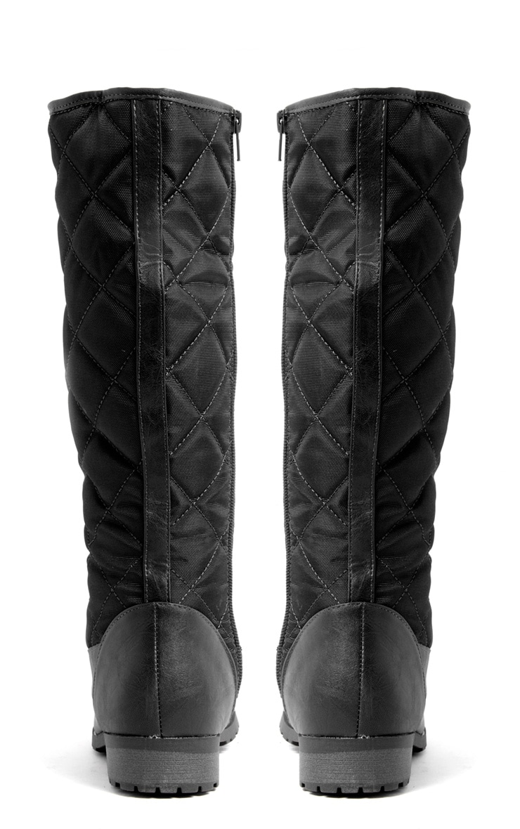 Kasey Black Quilted Lace Up Boot 3