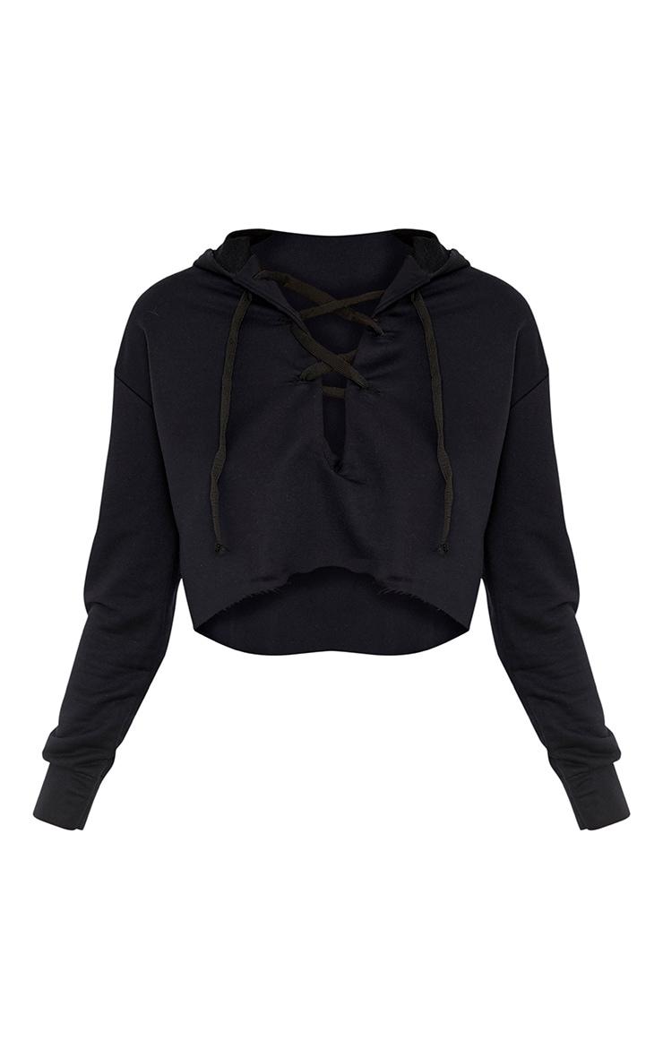 Saige Black Lace Up Cropped Hoodie 3