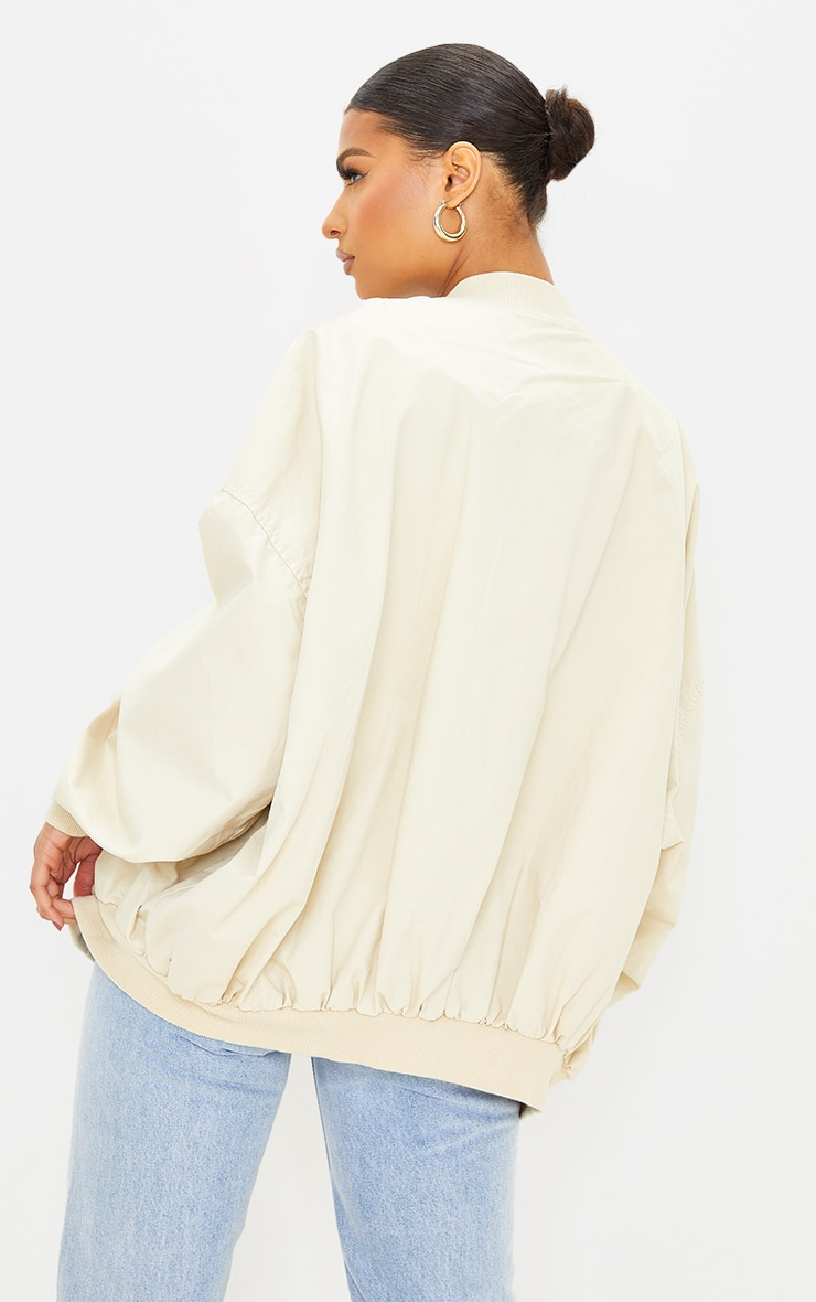 Beige Soft Touch Twill Extreme Oversized Bomber 2