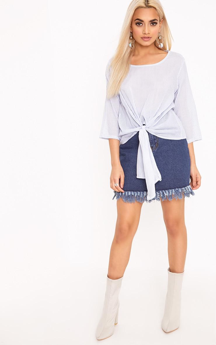 Waiola Blue Stripe Tie Front Shirt 4