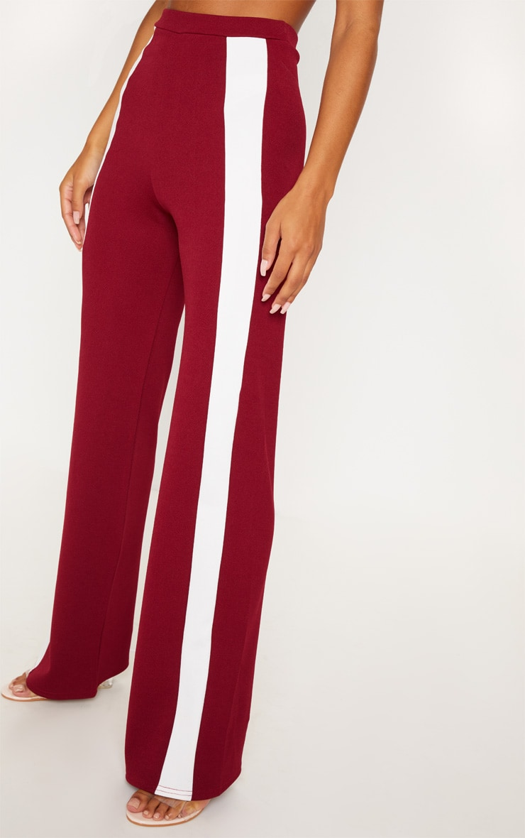 Maroon Contrast Panel Wide Leg Pants 5