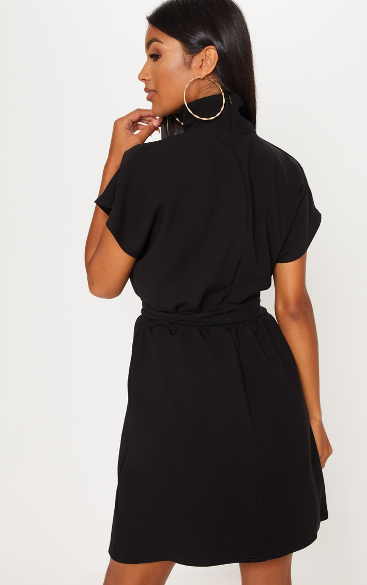 Black High Neck Belted Skater Dress 2