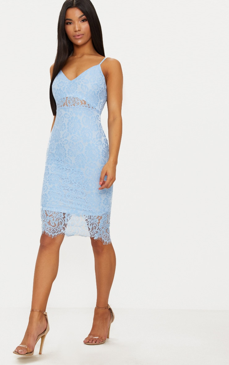 Pale Blue Lace Plunge Midi Dress  4