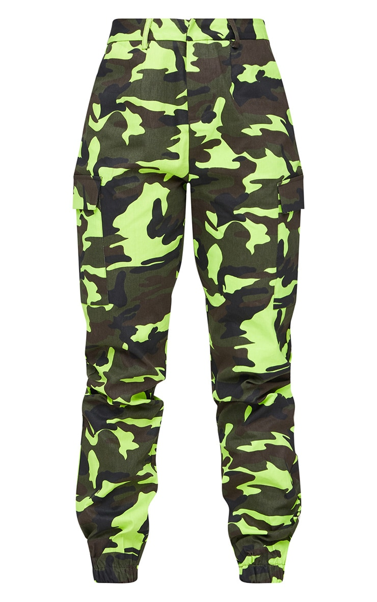 Lime Camo Print Cargo Trousers 3