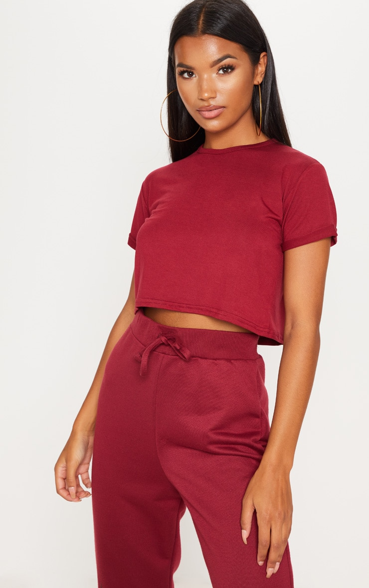 Basic Deep Burgundy Roll Sleeve Crop T Shirt 1