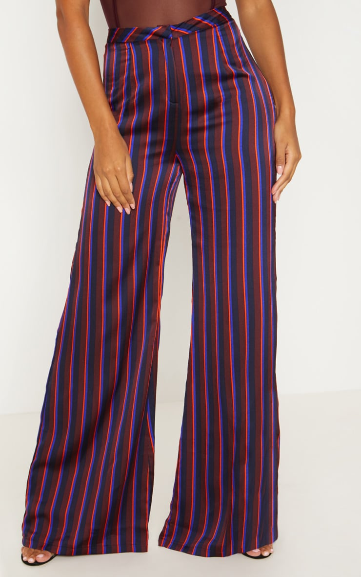 Burgundy Stripe Wide Leg Suit Pants 2