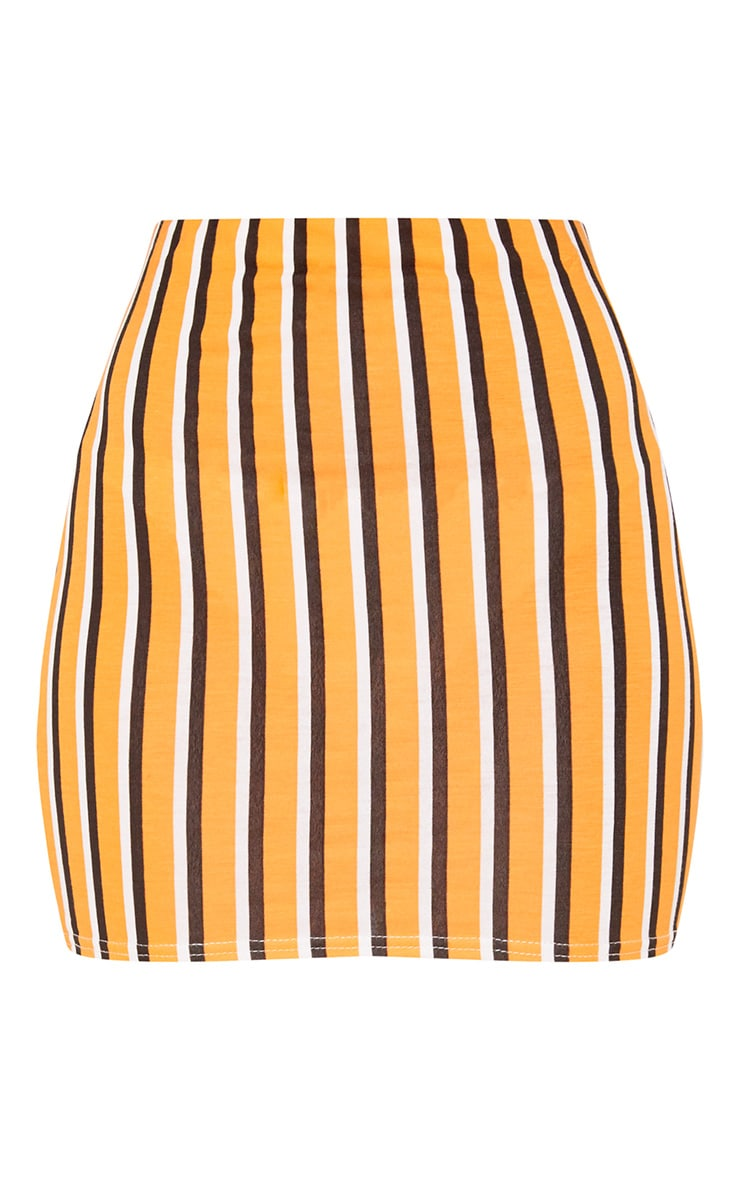 Orange Jersey Stripe Mini Skirt 3