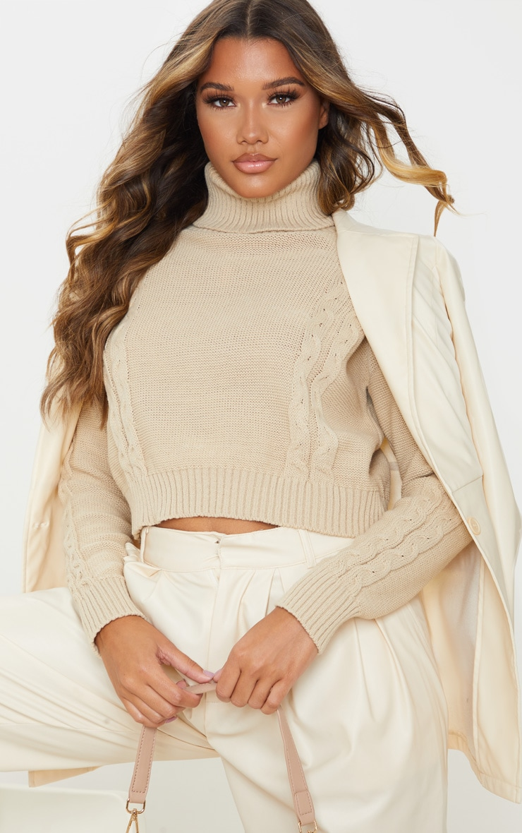 Stone Cable Detail Cropped Sweater 1