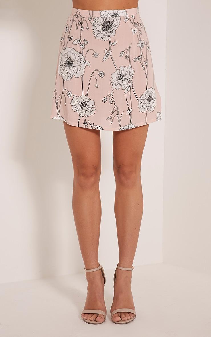 Paulina Pink Floral Print A-Line Mini Skirt 2