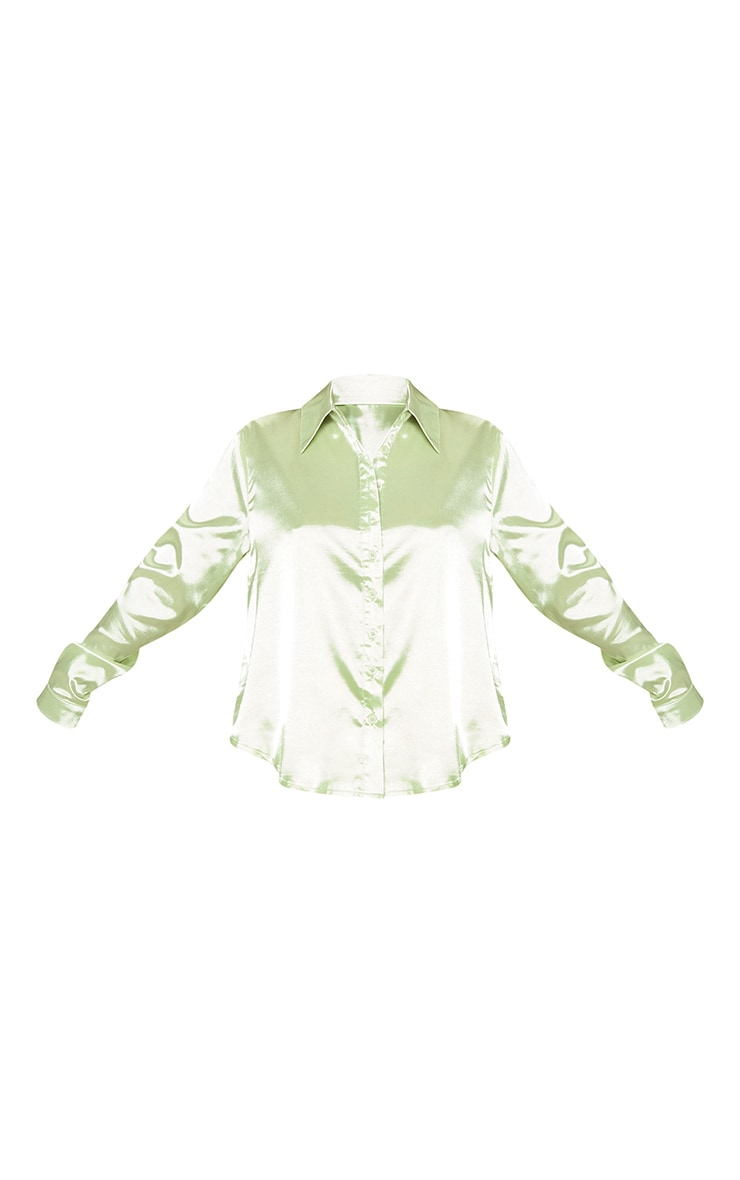 Petite Light Lime Satin Shirt 3