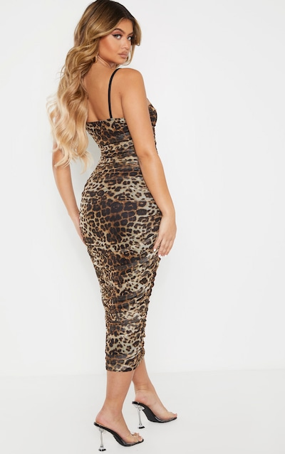 Leopard Print Strappy Mesh Ruched Midaxi Dress