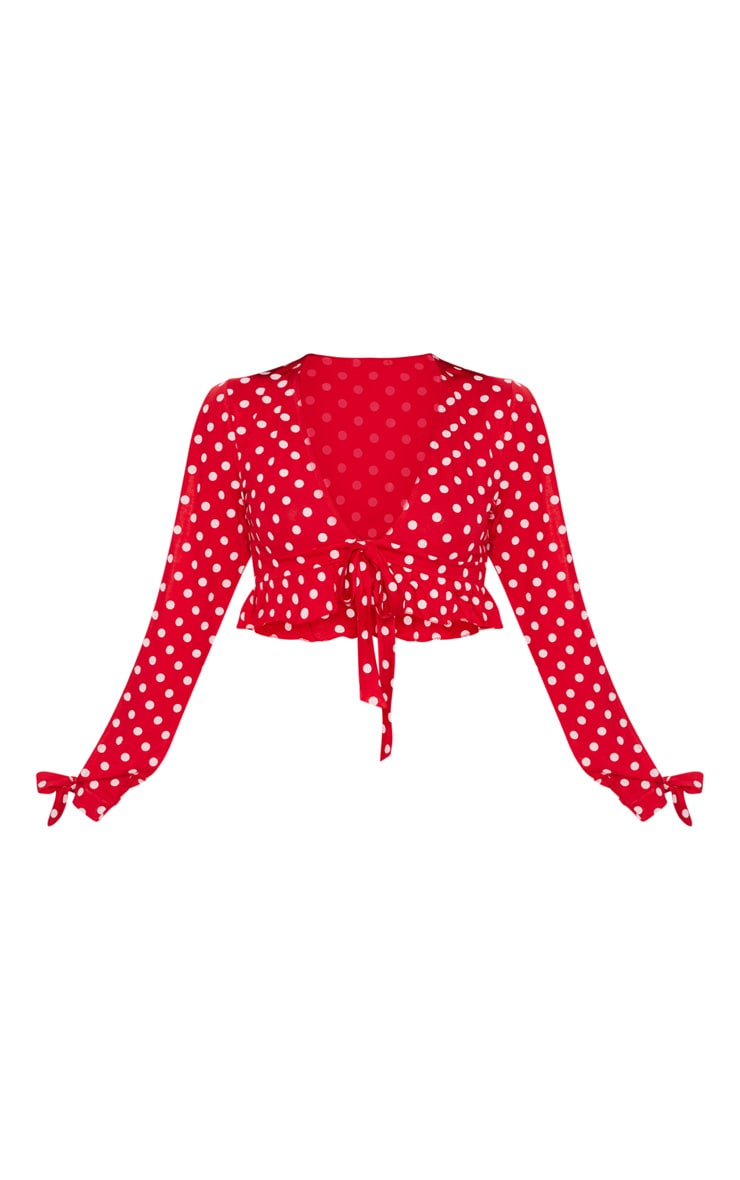 Red Polkadot Jersey Flared Sleeve Tie Crop Top 2