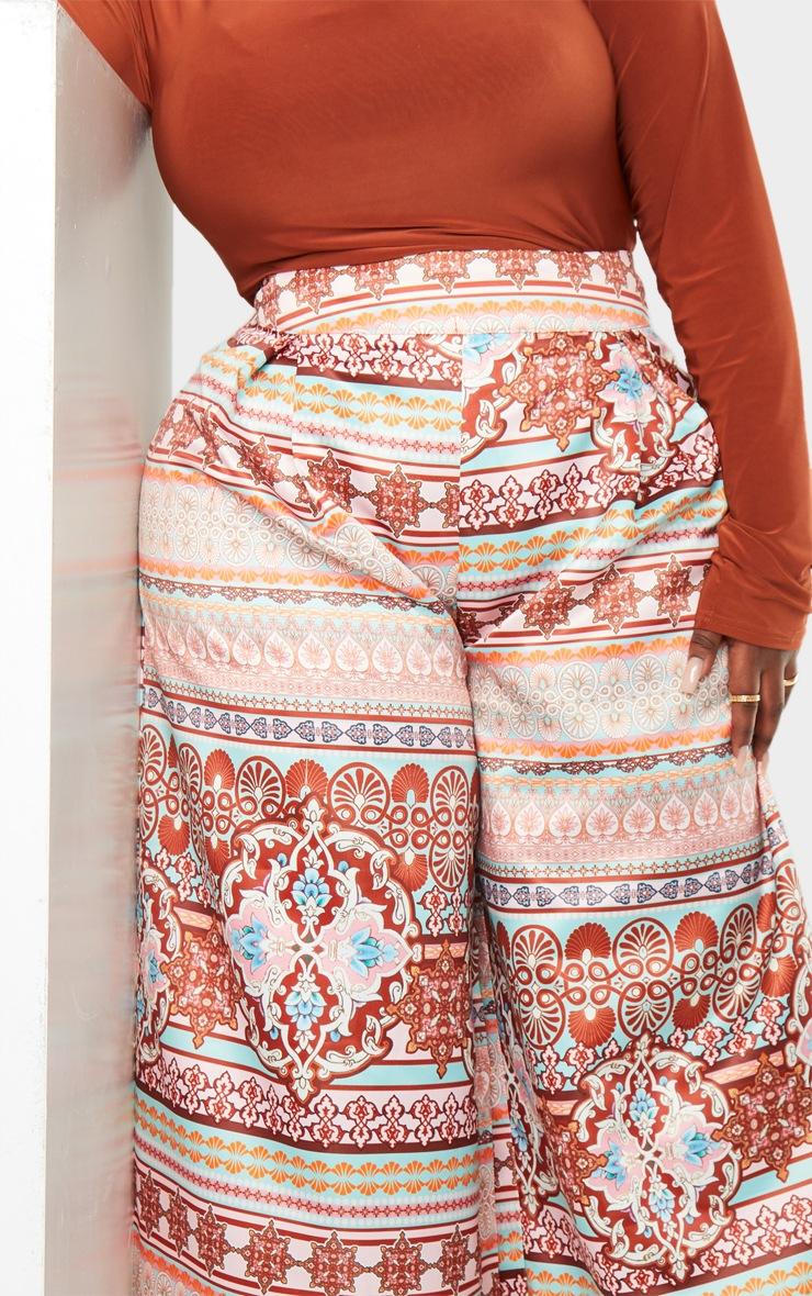 Plus Multi Paisley Print Pleat Detail Wide Leg Trousers 4
