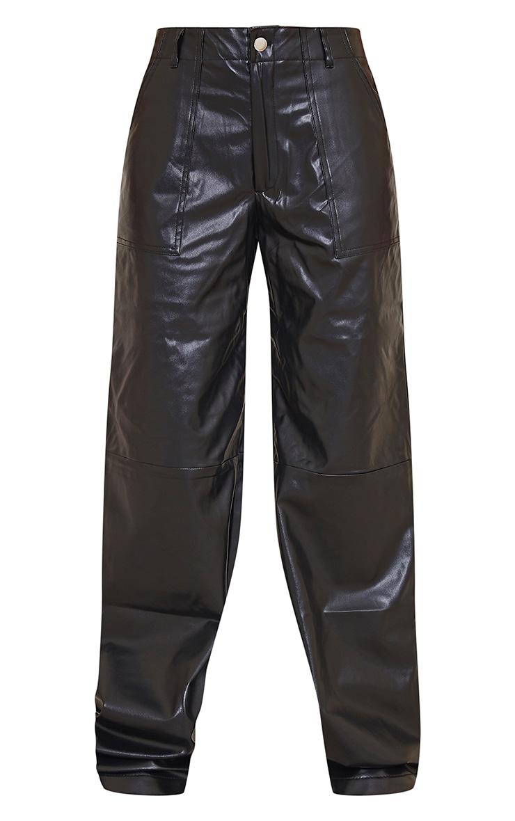 Black Faux Leather Stitch Detail Wide Leg Trouser 5