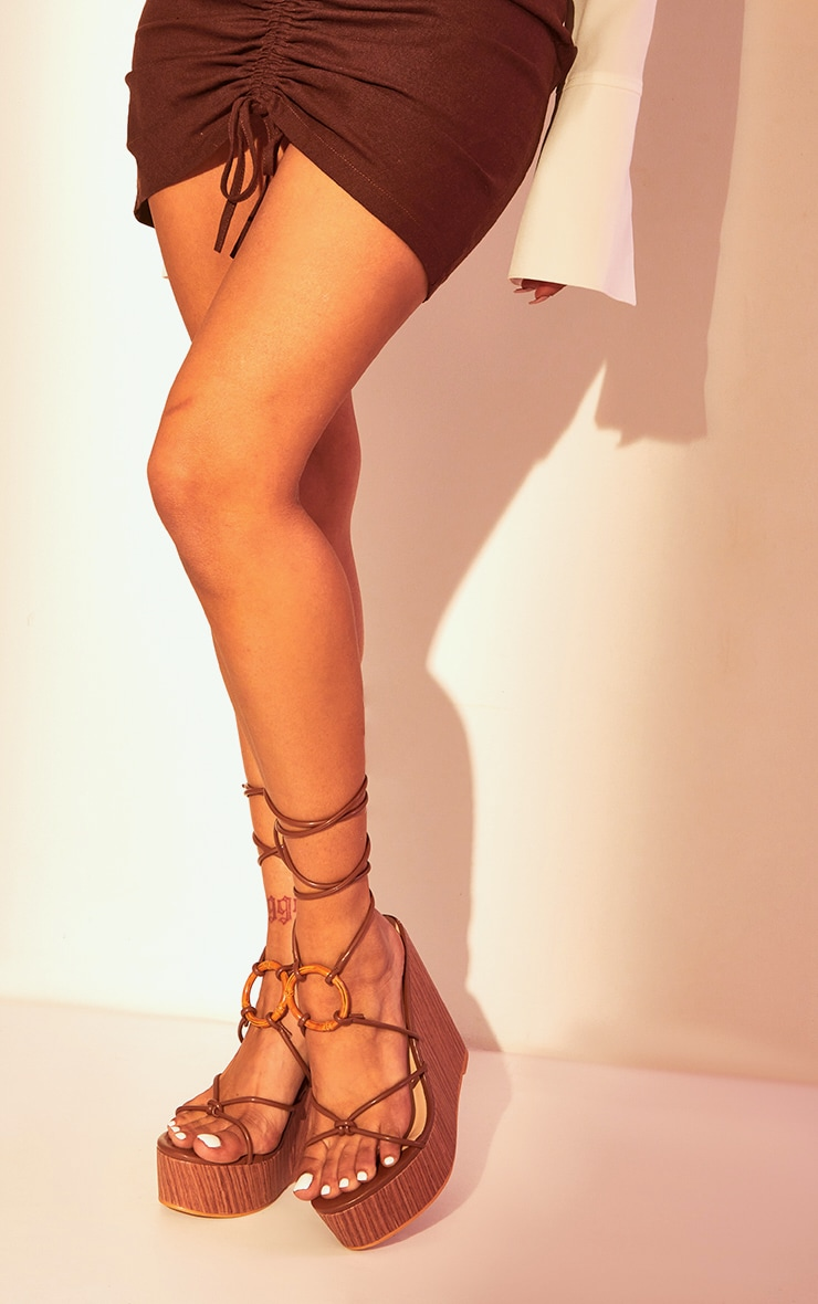 Brown Lace Up Wood Effect Wedge 1