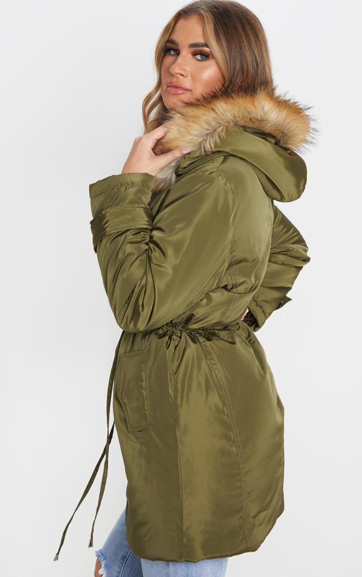 Khaki Faux Fur Trim Hood Parka Coat 2