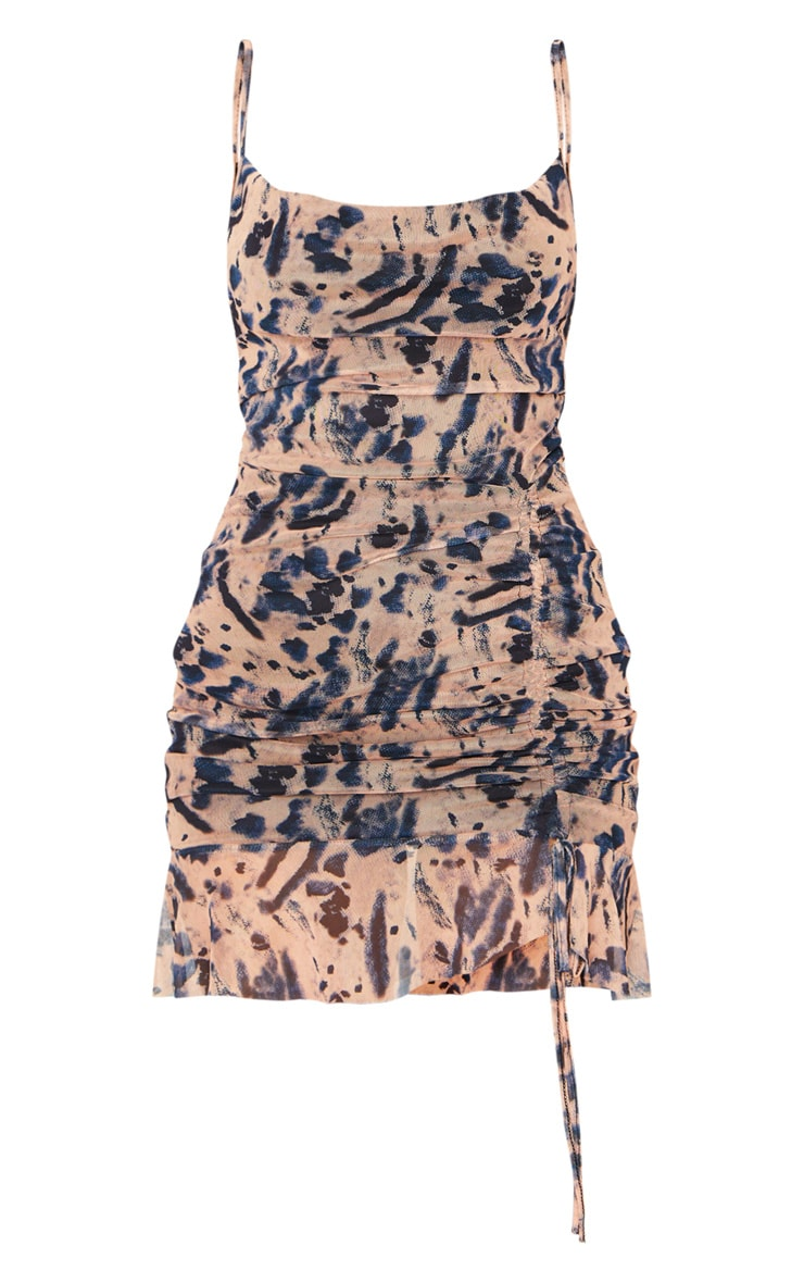 Nude Mesh Tie Dye Print Ruched Bodycon Dress 1