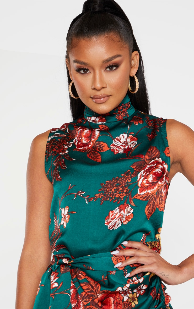 Emerald Green Floral Satin High Neck Side Knot Bodycon Dress 5