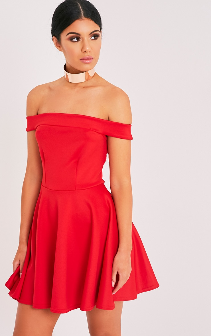 Monica Red Bardot Skater Dress 1