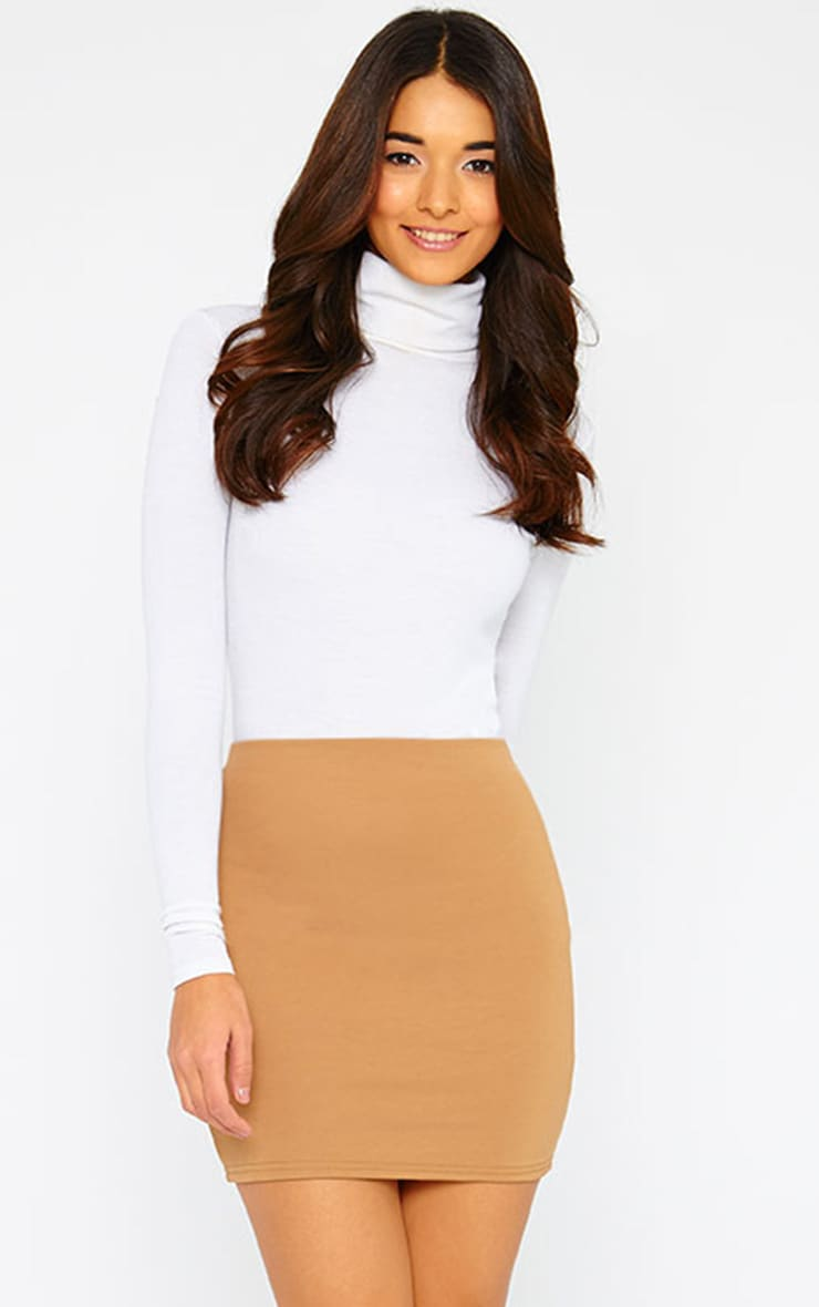 Basic Camel Scuba Mini Skirt 1