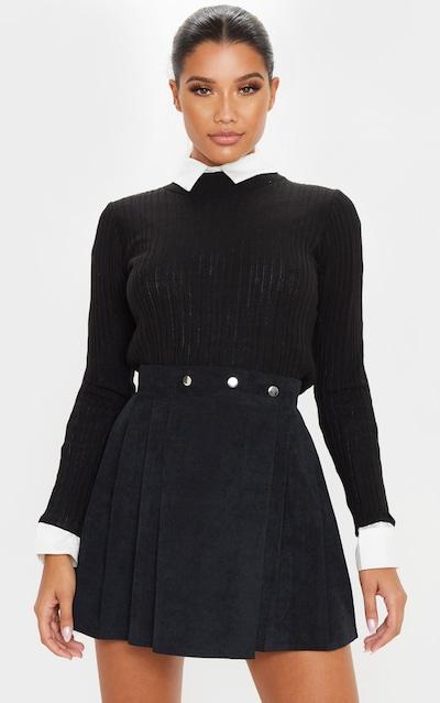 Black Cord Skater Skirt