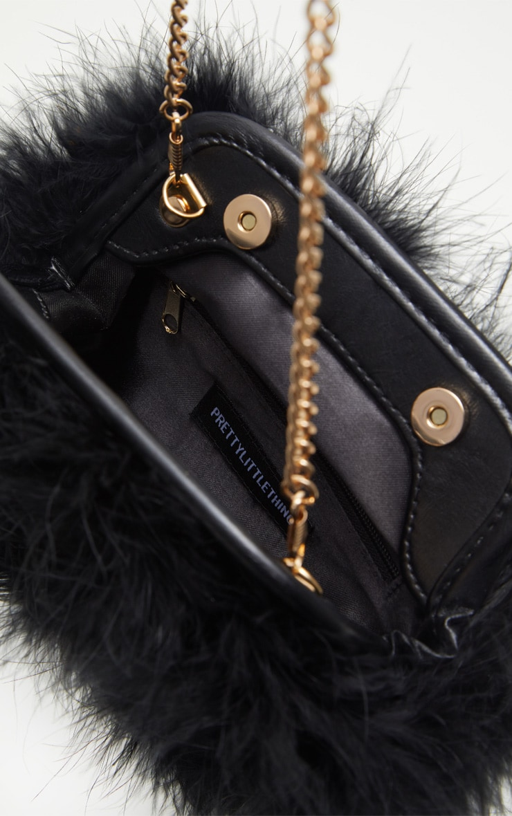 Black Marabou Feather Clutch Bag 4