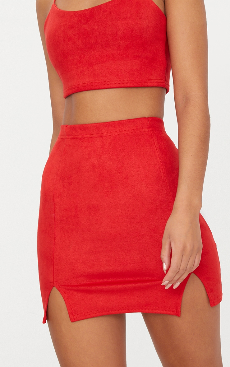 Red Faux Suede Side Split Mini Skirt 7