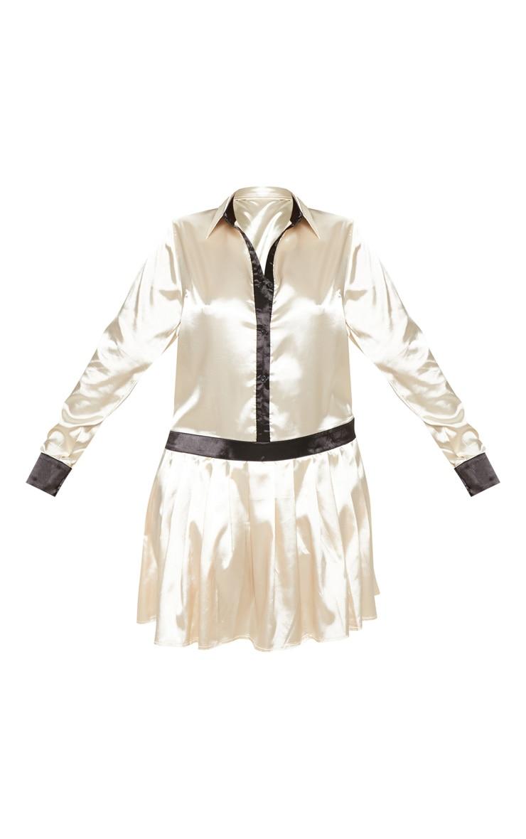 Plus Cream Pleated Skirt Shirt Dress  3
